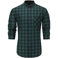 GoldCut Men's Slim Fit Long Sleeve Button-Down Plaid Dress Shirt