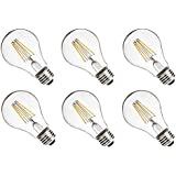 Vintage Edison LED Light Bulbs Dimmable LED Vintage Filament Light Bulbs,E26 Base,4.5W(40 Watt Equivalent),2700 Warm White,Energy Saving A19 LED Light Bulbs for Indoor Decorations,UL Listed,Pack of 6