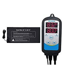 """Inkbird ITC308,ITC306T,ITC310T Digital Temperature Controller Outlet Thermostat 110V, 1000W + 10"""" x 20.75"""" 110V 21W Waterproof Heat Mat Combo Set for Plant Germination, Greenhouses (ITC-310T+Heat Mat)"""