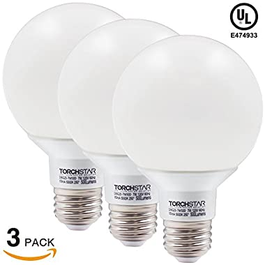 Torchstar #Dimmable# G25 Globe LED Bulb, 7W (60W Equiv.), 5000K Daylight for Pendant, Bathroom, Dressing Room Decorative Lighting, Damp Location Available, 3 YEARS WARRANTY, Pack of 3