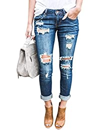 Women Distressed Denim Jeans Skinny Stretch Roll up Ripped Blue Jeans Pants