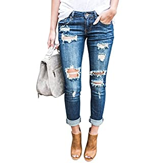 Ermonn Women Distressed Denim Jeans Skinny Stretch Roll Up Ripped Blue Jeans Pants