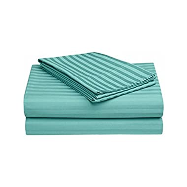 Sleepwell Bedding Luxury Egyptian Cotton 600-thread-count Sateen 4 Pcs King Size Sheet Set Teal Blue Stripe