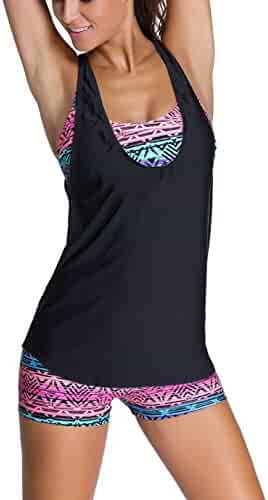 Sidefeel Women Tribal Printed Tankini With Boyshort Bikini Set