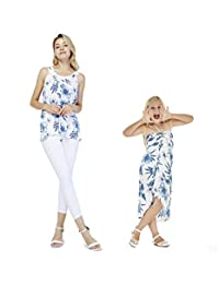 Matching Hawaiian Luau Mother Daughter Tank Top Butterfly Dress in Midnight Bloom