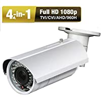 Amview HD 4-in-1 1080P 2.6MP Waterproof 42IR LEDs 2.8-12mm Varifocal Bullet CCTV Security Camera