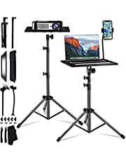 Projector Laptop Tripod Stand, SanLead Portable Tripod Shelf DJ Laptop Stand Height Adjustable Up to 49 Inches Projector Mount with Gooseneck Phone Holder, Detachable Universal Tripod Stand, Black