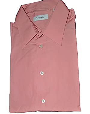 Calvin Klein Men's Wrinkle Resistant Long-sleeve Salmon Shirt 17 32/33