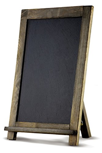"COMPONO Vintage Chalkboard (16"" x 12"") Free Standing Rustic Chalk Board Easel for Wedding, Home, Kitchen, or Business use. Hand Made with Real Slate W…"