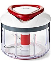 Easy Pull Manual Food Processor and Food Chopper, Red