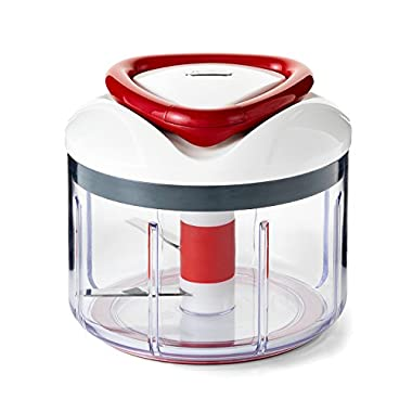 Zyliss Easy Pull Manual Food Processor and Food Chopper, Red