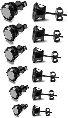 FIBO STEEL Stainless Steel Mens Womens Stud Earrings Black Round Cubic Zirconia Inlaid, 6 Pairs 3mm-8mm