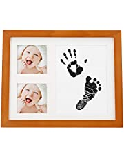 Baby Photo Frame, Come with Stamp Ink Pad, Baby Handprint & Footprint Newborn Picture Frame, Small Practical 3 Grid Wooden Newborn for Baby