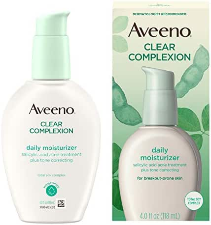 Aveeno Clear Complexion Salicylic Acid Acne-Fighting Daily Face Moisturizer with Total Soy Complex, For Breakout-Prone Skin, Oil-Free and Hypoallergenic, 4 fl. oz