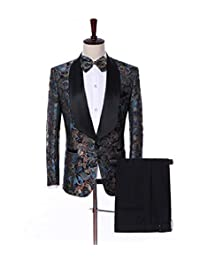 Solovedress Men's Suit Three Piece Printed Shawl Lapel Tuxedos(Blazer+Vest+Pant)