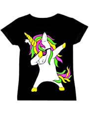 Kids Dabbing Unicorn Long Sleeve Top T-Shirt and Leggings Set Girls Boys Dab Dance Fashion Clothing Pink