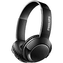 Philips BASS+ On Ear Wireless Bluetooth Headphones with Mic - Black.