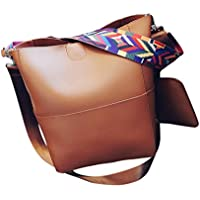 AutumnFall Women Shoulder Vintage Leather Female Bag Crossbody Shoulder Bags+Clutch Bag (Brown)