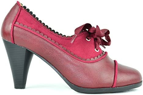Chase & Chloe dora-7 Lace-up clásico Cut-out de la mujer Heeled Oxford