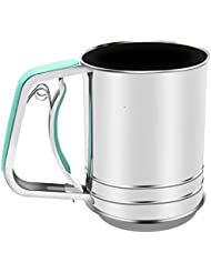 Stainless Steel Almond Flour Sifter One Hand for Baking with 3 Meshes Squeeze Style …