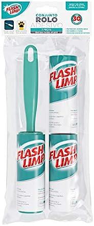 Conjunto 1 Rolo adesivo com 30 folhas e 2 refis removedor de poeira, pelos e fiapos,CST0085, Flash Limp