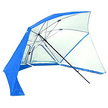 EasyGo Products Brella the Ultimate 2-in-1 Umbrella Shelter - Beach Cabana Tent Sun Shelter - Sets Up in Seconds, Blue