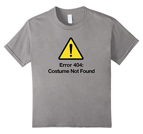Kids Easy Halloween Costume Not Found Error 404 DIY Computer Tee 8 Slate
