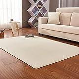 GIY Soft Solid Indoor Area Rugs Fluffy Rectangular Living Room Carpets Children Bedroom Home Decor Runners Nursery Rugs Beige 4' X 5'