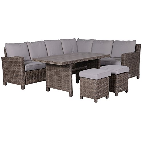Garden Impressions Lounge/Dinner Set, 5-teilige Gruppe BOGOTA - Outdoor Gartenmöbel Sitzgruppe aus hochwertigem Kunstoff Geflecht, neu kubu, 255x202x84 cm, 06330SO