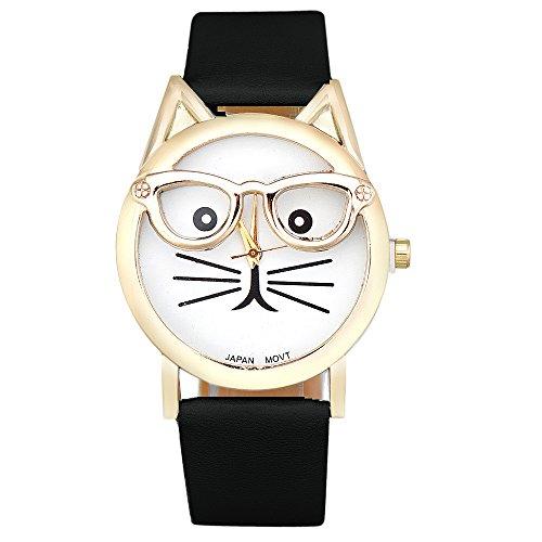 Analog Floral Dial (AmyDong Women Cute Cat Quartz Dial Watch)