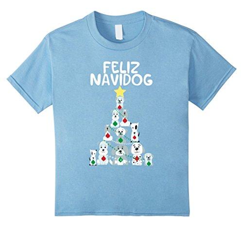 Kids Feliz Navidog Christmas Dog T-Shirt, Funny Cute Xmas Tree 12 Baby Blue