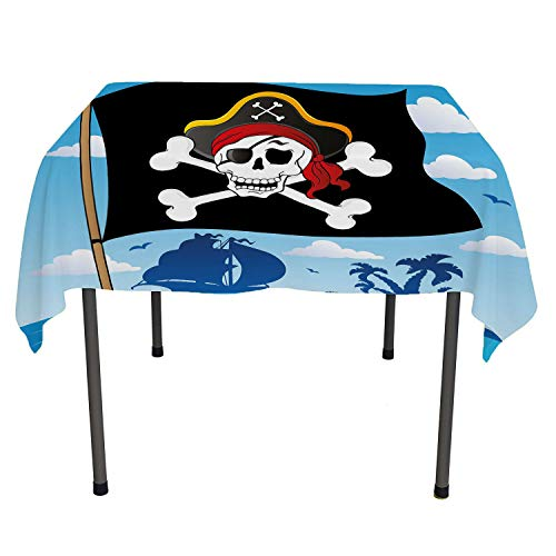Pirate Christmas Tablecloth Danger Sign Beware of Pirates Skull Hat Cross Bones Flag Deserted Island Custom tablecloths XL Blue Black White Square Tablecloth 60 by 60 inch