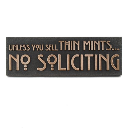 Atlas Signs and Plaques Thin Mints No Soliciting Sign 12x4 - Made in USA - Raised Bronze Metal Coated ()