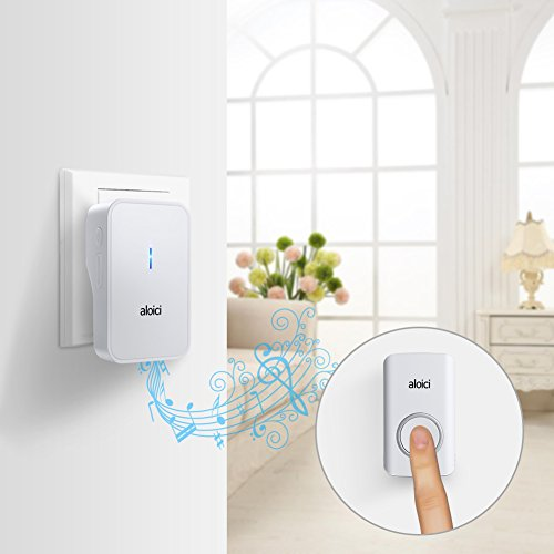 Wireless Doorbell, 1 [Self-Powered] Push Button and 1 Plug-in Receiver, Waterproof Chime Kit with 58 Chimes & 4 Level Volume LED Flash [ White, No Battery Required, 2018 Upgraded ] by aloici (Image #6)