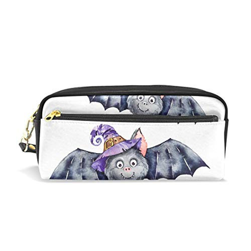 Halloween Bat Cat Leather Student Pencil Case Cosmetic Pen Bag Makeup Pouch for Teen Girl]()