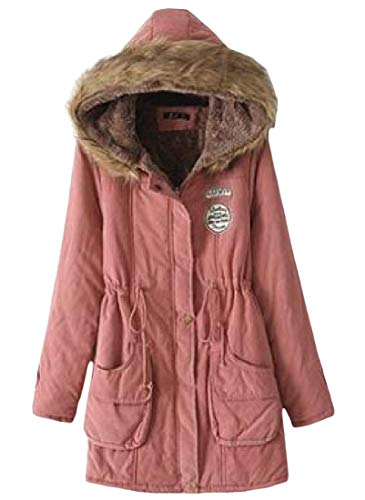 Winter Fur Pink Fit amp;E Collar Womens Parkas Coat Slim Thicken H Fleece Faux Hooded xnRwUFIq