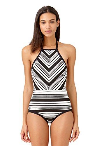 Anne Cole Studio Women's Beach Bound Pique Stripe High Neck One Piece Swimsuit-4-AC15_BKWH