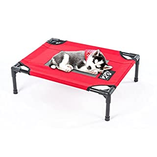 2PET Elevated Cooling Pet Bed, Pet Cot, Dog Bed with New Improved 1680D Nylon Fabric, Orthopedic, Easy Clean for Small, Medium, Large, Extra Large All Breeds Non Meshed XL-Red