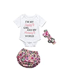 Toddler Baby Clothes,0-24 Monthes Newborn Girls Letter Romper Shorts Headband Outfit Set