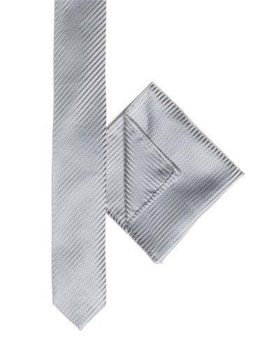 Paisleymuster von London, Jungen, gestreift, schmale Krawatte, silber, für Jungen, quadratisch für Jungen