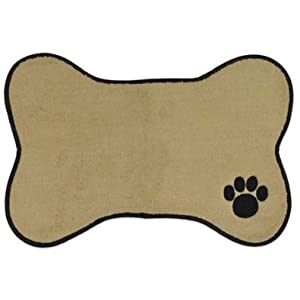 Bone Dry Bone Shape Embroidered Pet Feeding Placemat Brown