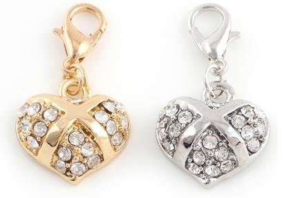 Beautiful Gold & Silver Heart Charms with Rhinestones Bling Design Embellish Your Purse, Also for DIY Arts & Craft Charm, Pendant, Zipper Pull Charm, Backpack, Keychain, KandyCharmz 245