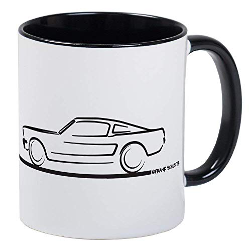 (1964 65 66 Mustang Fastback Mug - Ceramic 11oz RINGER Coffee/Tea Cup Gift Stocking)