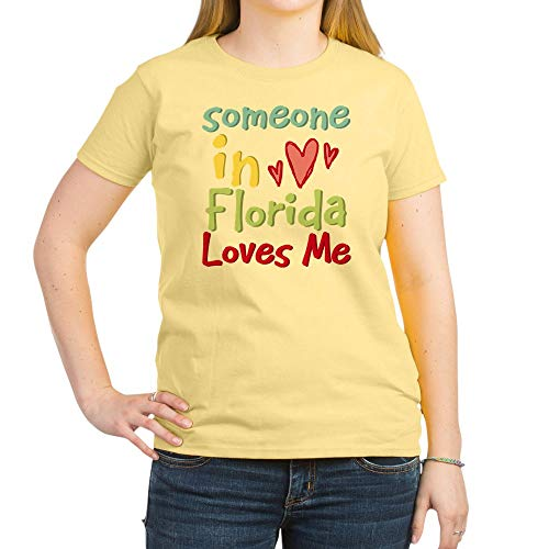 CafePress Someone in Florida Loves Me Women's Light T Shirt Womens Cotton T-Shirt, Crew Neck, Comfortable & Soft Classic Tee