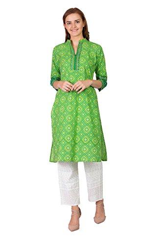 - SABHYATA Women Kurta Designer Ethnic Long Dress Casual Tunic Kurti for Women Ladies Partywear Material 100% Pure Cotton Chinese Collar Small P.Green