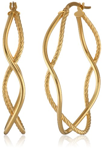 14k Yellow Gold Italian Diamond-Cut and High Polish Double Hoop Earrings by Amazon Collection