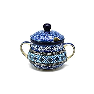 Polish Pottery Sugar Bowl – Aztec Sky