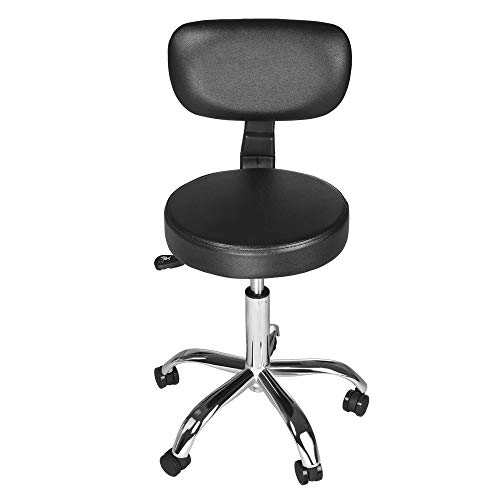 YOMXL Round Rolling Stool PU Leather Height Adjustable Swivel Stools with Back For SPA Salon Stools Chair