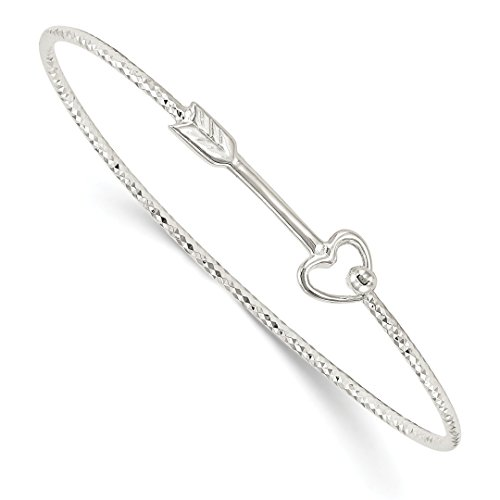 ICE CARATS 925 Sterling Silver Arrow Interlocking Bangle Bracelet Cuff Expandable Stackable 7 Inch Hook Clasp Fine Jewelry Gift Set For Women (Interlocking Hearts Bracelet)