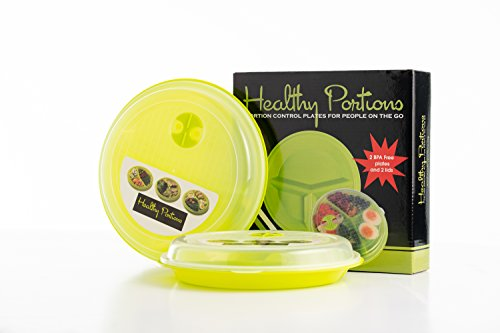 Portion Plate Control (Healthy Portions -Portion Control Plates (2 Pack) - Innovative design for Losing Weight with 3-Sections & Leak-Proof Lids - Reusable, Easy to Clean, Microwave & Dishwasher Safe | BPA free)